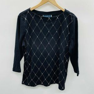 Karen Scott PXL 3/4 Sleeve Argyle Studded Top 540
